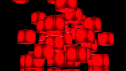 Loop Able Red Shining Cube Abstract On Black Background CG動画