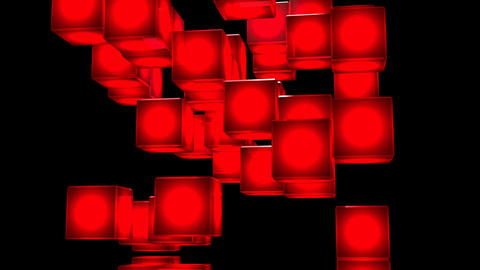 Loop Able Red Shining Cube Abstract On Black Background Stock Video Footage