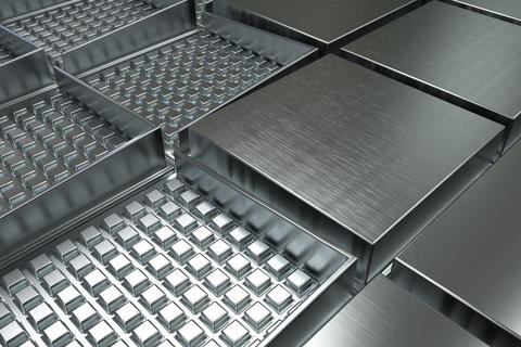 Futuristic industrial background made from brushed square metal フォト