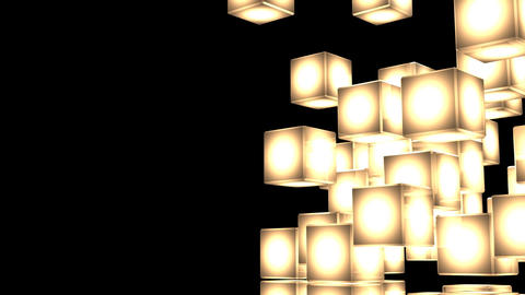 Loop Able Yellow Shining Cube Abstract On Black Text Space CG動画