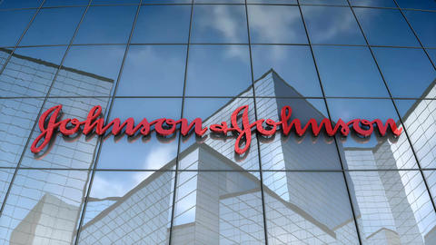 Editorial, Johnson & Johnson logo on glass building Animation