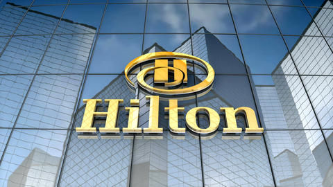 Editorial, Hilton logo on glass building Animation