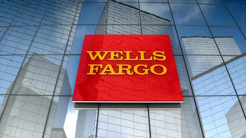 Editorial, Wells Fargo logo on glass building Animation