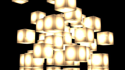 Yellow Shining Cube Abstract On Black Background CG動画
