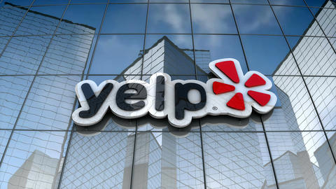 Editorial, Yelp logo on glass building Animation