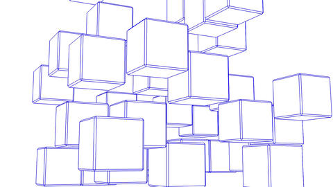 Blue Wire Frame Cube Abstract On White Background Animation