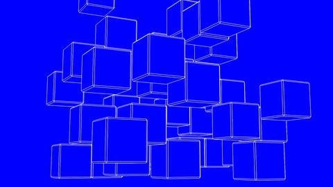 Loop Able White Wire Frame Cube Abstract On Blue Background CG動画