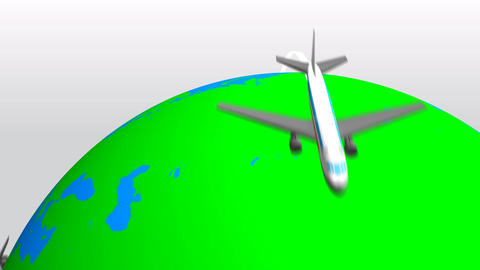 Earth & Airplane CG動画素材
