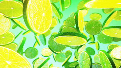 Falling fresh lime on green background Animation