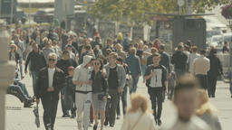 City street crowded. Crowd. Slow motion Footage