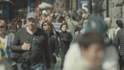 Many people. Crowd on the street. Slow motion Footage