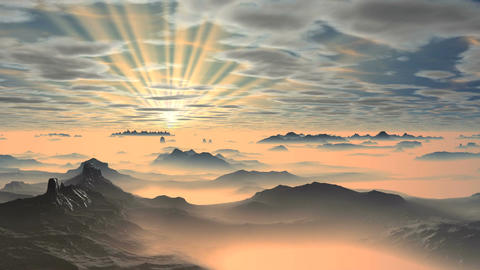 Colorful Dawn over Misty Mountains Animation