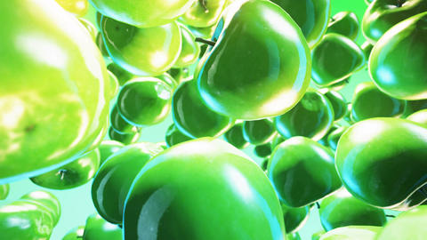 Falling fresh green apple on green background Animation