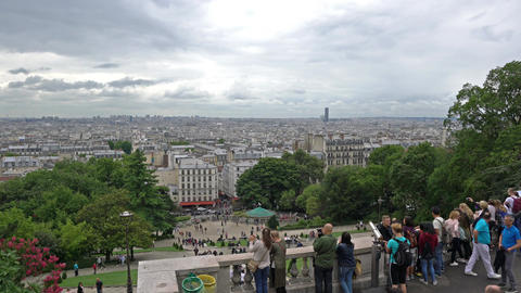 View of the city from Montmartre in Paris Footage
