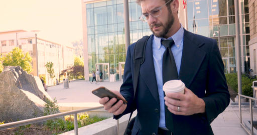 An ambitious frustrated executive millennial businessman with beard, briefcase, Footage