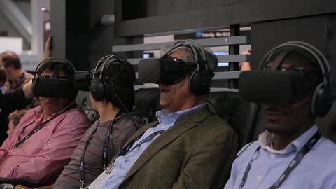 Adult mans using Gear Virtual Reality headsets Footage