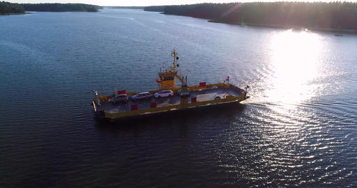 Car ferry Cinema 4k aerial view turning after a cable ferry in the finnish archi Footage
