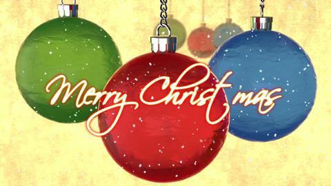 "crystal tree toys, snow and appear text ""Merry Christmas"" decoration Animación"