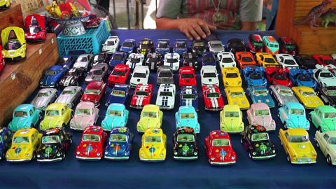 Colorful toy cars at shop in Thailand ビデオ