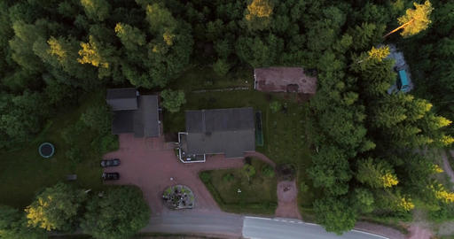 Detached house Cinema 4k aerial view above a detached house on the countryside b Footage