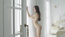 Sexy girl with a nude body. Slow motion. Erotic girl Footage