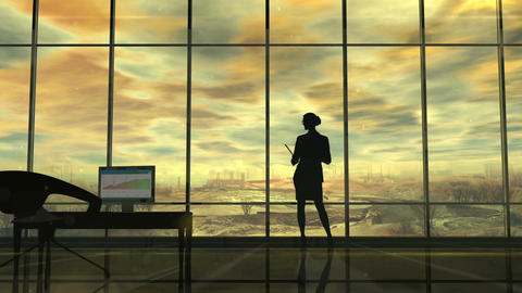 Improve the environmental situation, the silhouette of a woman in the office Animation