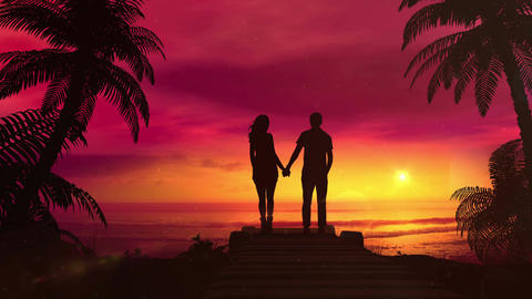 Romantic Couple Watching The Red Sunset In The Ocean Animation
