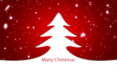 Merry Christmas and happy new year background red and Christmas tree Animation