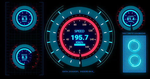 Head up display of futuristic car interface with speed,distance indicators 画像