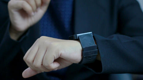 Close up shot hands of woman using smart watch for futuristic and technology con Footage