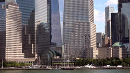 USA New York City Manhattan southern tip close at giant skyscrapers Footage