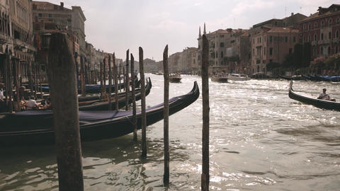 Venice canal with gandolas in slow motion Footage
