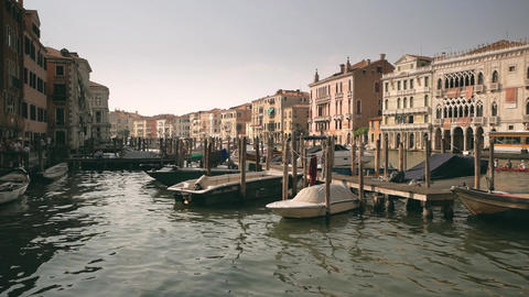 Bay and pier with boats in Venice in slow motion Footage