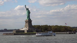 USA New York City Liberty Island and a ferryboat seen from Upper Bay Footage