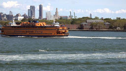 USA New York City Governors Island & Staten Island ferry & Brooklyn Skyline Footage
