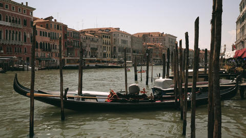 Gondola taxi boats parking place in Venice, Italy Footage