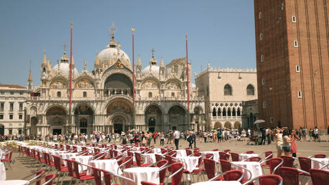 Saint Mark's Basilica with St. Mark's Campanile in Venice, Italy Footage
