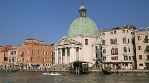 San Simeone Piccolo church with Scalzi Bridge in Venice Footage
