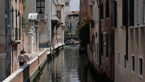 Calm street in Venice with rowing canoes Footage