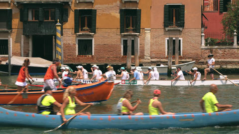 Rowing competition in Venice, Italy Footage