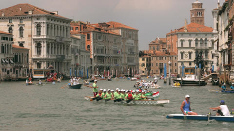 Rowing swim competition in Venice, Italy Footage