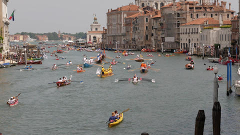 Kayaking competition in Venice with Basilica di Santa Maria della Salute view Footage