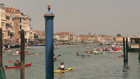 Kayaking and canoeing rowing competition in Venice Footage