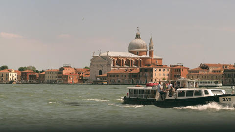 Canal in Venice with Church of the Santissimo Redentore view Footage