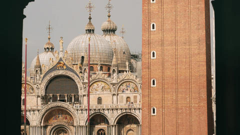 Saint Mark's Basilica long focal length view in Venice Footage