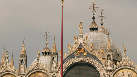 Saint Mark's Basilica view in Venice. Basilica di San Marco Footage