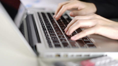 Businesswoman working in office with typing e-mail on laptop computer Footage