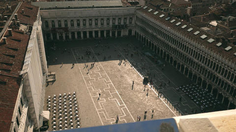 Saint Mark's Square view from above with birds and people in Venice Footage