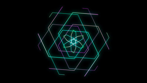 Glowing 3D geometric looping hexagons UI shape Stock Video Footage