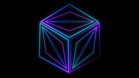 Glowing 3D geometric looping quad UI shape Animation